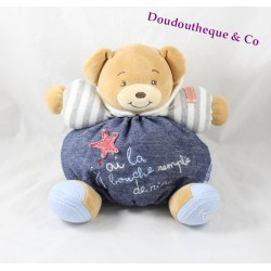 KALOO Blue Denim Bear Teddy Bear My mouth is filled with laughter 25 cm