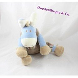 Donkey plush Paco NOUKIE'S brown dungarees seated striped pocket 25 cm