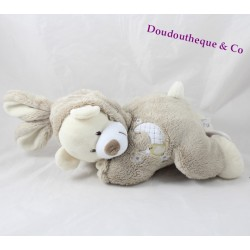 AUCHAN bear musical plush disguised as rabbit with taupe gray moon 28 cm