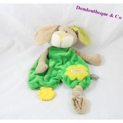 Doudou plat chien SIGIKID jaune et vert anneau de dentition 35cm