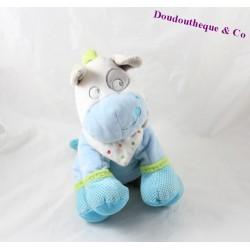Peluche âne MOTS D'ENFANTS bleu à pois cocard 25 cm