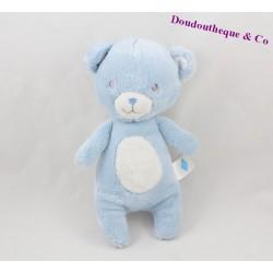 Doudou ours TEX BABY bleu blanc pois 22 cm