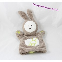 Rabbit puppet comforter OBAIBI brown white green 27 cm