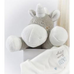 Doudou mouchoir licorne SUCRE D'ORGE Cajou gris étoiles 29 cm