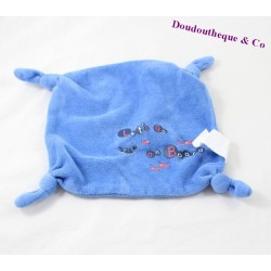 Doudou plat crabe poisson POMMETTE Let's go on Board bleu noeuds 18 cm