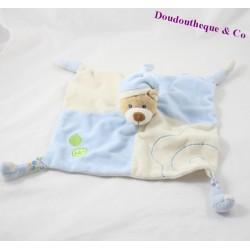 Doudou plat ours GIPSY feuilles bleu beige bonnet 23 cm
