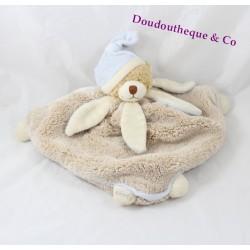 Doudou plat Ziggy ours déguisé en lapin BUKOWSKI blanc / beige