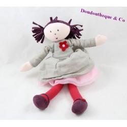 Poupée chiffon Nina JACADI robe gris rouge rose jupe tulle 29 cm