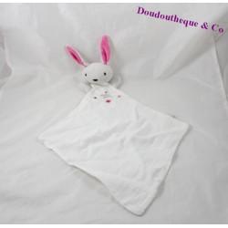 Doudou plat lapin DPAM Du Pareil au Même lange blanc Doudou D'amour 43 cm