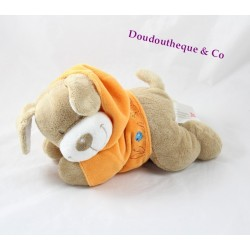 Doudou plat Chien NICOTOY rectangle beige marron 22 cm