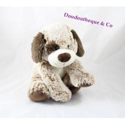 Peluche chien MAX & SAX marron chiné doux Carrefour 24 cm