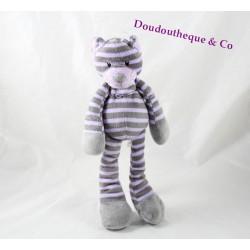 Doudou tigre chat MAX & SAX rayé violet gris Carrefour 32 cm