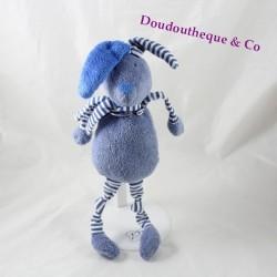 Doudou lapin BOUT'CHOU bleu rayé Monoprix 32 cm