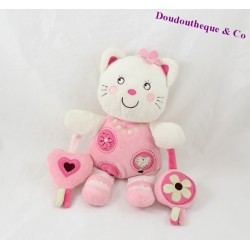 Doudou chat NICOTOY rose 24cm