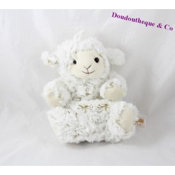 Doudou marionnette mouton RODADOU RODA beige poil long 23 cm