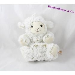 Plush puppet sheep RODADOU RODA beige long hair 23 cm
