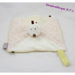 Doudou flat Hedgehog baby 9 attached nipple flowers 25 cm square