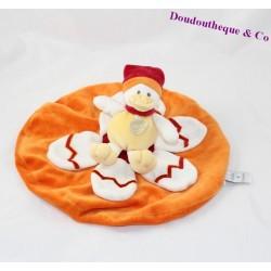 Doudou plat canard DOUDOU ET COMPAGNIE pétales orange oeuf 25 cm