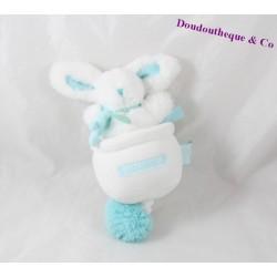 Musical plush rabbit DOUDOU ET COMPAGNIE Pink white pompon 22 cm