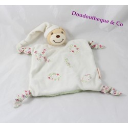 KALOO Liberty bear flat comforter white green flowers knots 23 cm
