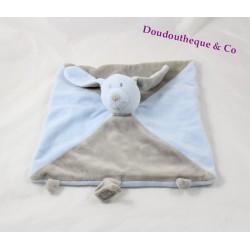 Doudou plat lapin NOVATEX bleu gris carré attache tétine