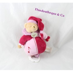 Peluche musicale ours BABY NAT' rose mauve 22 cm