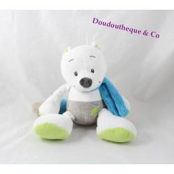 Peluche renard TEX blanc vert écharpe bleu 22 cm