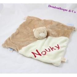 """Doudou plat Ours Nouky NOUKIE'S beige écru brodé """" Nouky """" 27 cm"""