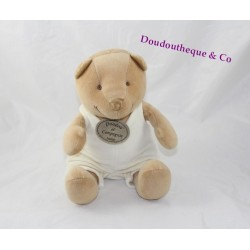 Plush bear DOUDOU AND COMPANY beige brown cream overalls