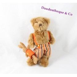 Peluche ours Carré Blanc salopette orange avec doudou lapin CARREBLANC