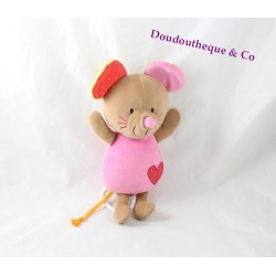 Peluche musicale souris CREATIVTOYS Kikou rose coeur rouge 29 cm