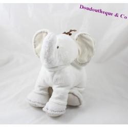 Peluche éléphant TARTINE ET CHOCOLAT blanc écru 25 cm
