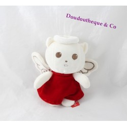 Doudou chat ORCHESTRA ange robe rouge papier bruissant 17 cm