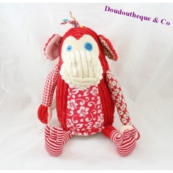 Plush monkey LES DEGLINGOS Bogos red
