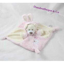 Doudou plat ours AUCHAN déguisé en lapin rose beige 35 cm