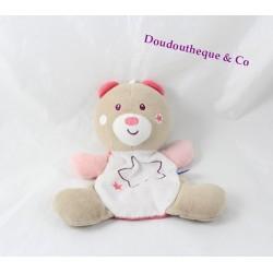 Doudou plat ours SUCRE D'ORGE rose étoiles brodées 20 cm