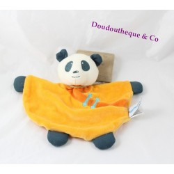 Doudou plat panda ORCHESTRA orange demi lune 25 cm