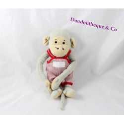 Plush monkey Popi AJENA NOUNOURS red striped overalls 25 cm