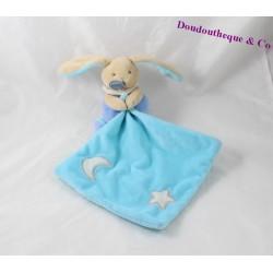 Doudou mouchoir lapin BABY NAT' Luminescent étoile lune bleu 16 cm