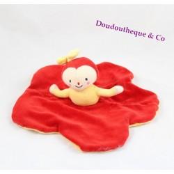 Doudou plat poupée MOULIN ROTY Dim Dam Doum fleur rouge  28 cm