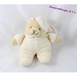 Doudou musical ours NOUKIE'S beige bonnet 20 cm