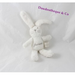 Doudou lapin JACADI blanc brodé marron 22 cm