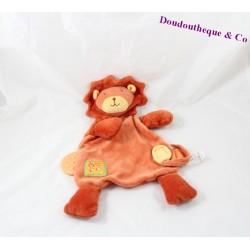 Doudou plat lion MOULIN ROTY Les Loustics orange jaune 31 cm