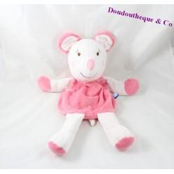 Peluche range pyjama souris SUCRE D'ORGE rose spirales fermeture éclaire dans le dos 36 cm