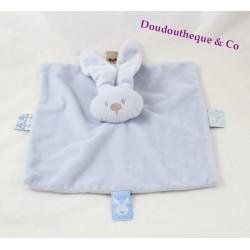 Doudou flat rabbit NATTOU Lapidou sky blue square 25 cm