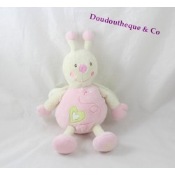 Plush Lisa butterfly SAUTHON pink beige heart green 26 cm