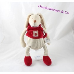 Peluche musicale lapin MOULIN ROTY Linvosges rouge rayures 29 cm