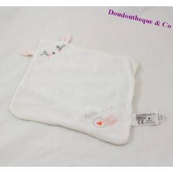 Doudou plat souris CARREFOUR Made with Love blanc rose 30 cm