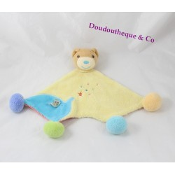 Doudou bear KALOO pom poms Bliss yellow blue green orange elephant 30 cm