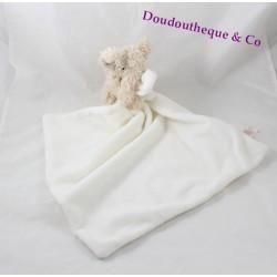 Doudou éléphant PRIMARK EARLY DAYS mouchoir blanc crème 45 cm